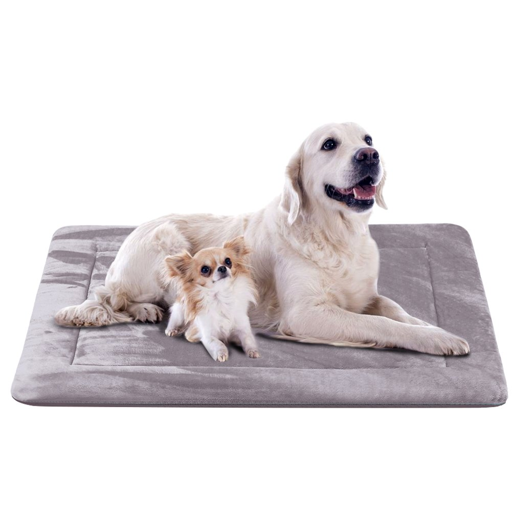 Extra Large Dog Bed Crate Pad 47 In Washable Soft Pet Beds Dog Mat Mattress Anti-Slip Kennel Pads,Grey XL by JoicyCo