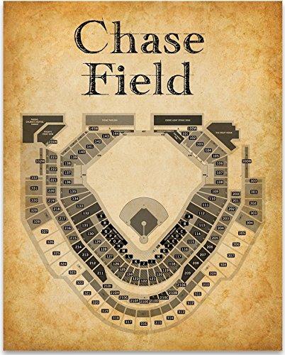(Chase Field Baseball Stadium Seating Chart - 11x14 Unframed Art Print - Great Sports Bar Decor and Gift for Baseball Fans)
