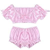 Women Satin Unisex Lounge Sleep Pajama Pants Adult Sissy Maid Silver