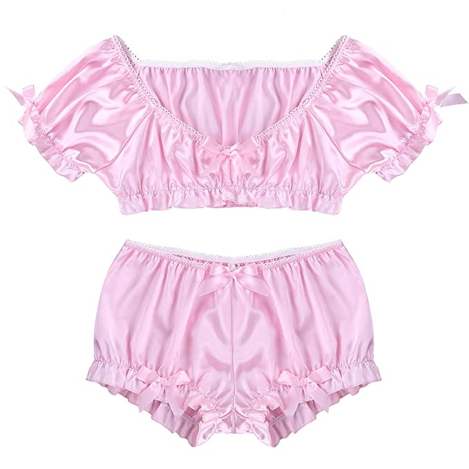 bb75bdbef ranrann Men s Shiny Satin Sissy Maid 2 Pieces Frilly Crop Top with Bloomers  Bo-Peep