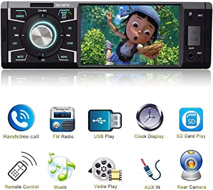 Indash Car Stereo with Bluetooth Single Din FM Radio for Car and MP5 Player USB//SD//AUX//FM Receiver Wireless Remote Control /…