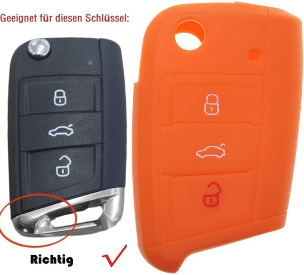 tuqiang® 1 x Naranja Llave Cover para for VW Golf 7 MK7 nuevo Polo ...