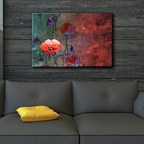 wall26-Poppy-Flowers-Artwork-Over-a-Blue-and-Red-Picture-with-Abstract-Painting-Background-Giclee-Prints-Canvas-Wall-Art-Modern-Home-Decor-Stretched-Gallery-Wrap-Ready-to-Hang-24×36-inches