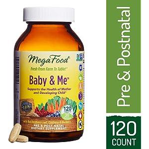 MegaFood - Baby & Me, Prenatal and Postnatal Supplement to Support Healthy Pregnancy, Development