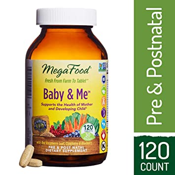 MegaFood - Baby & Me, Prenatal and Postnatal Supplement to Support Healthy Pregnancy, Development
