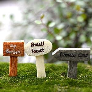 DAWEIF 3Pcs Resin Sign Board Bonsai Figurines Micro Landscape Crafts Miniatures Fairy Garden Moss Terrarium Decor