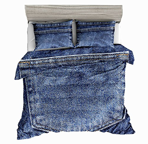 - SxinHome Queen Size 3D Bedding Set,Blue Jeans Backpocket Printed Duvet Cover Set for Teen Boys&Girls,3pcs 1 Duvet Cover 2 Pillowcases(no Comforter Inside)