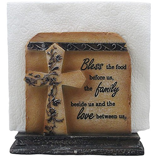 Look Napkins - Decorative Stone Look Holy Cross with Special Blessing Napkin Holder in Religious, Spiritual & Christian Decor Sculptures for Dining Room or Kitchen Table Decorations As Inspirational Gifts