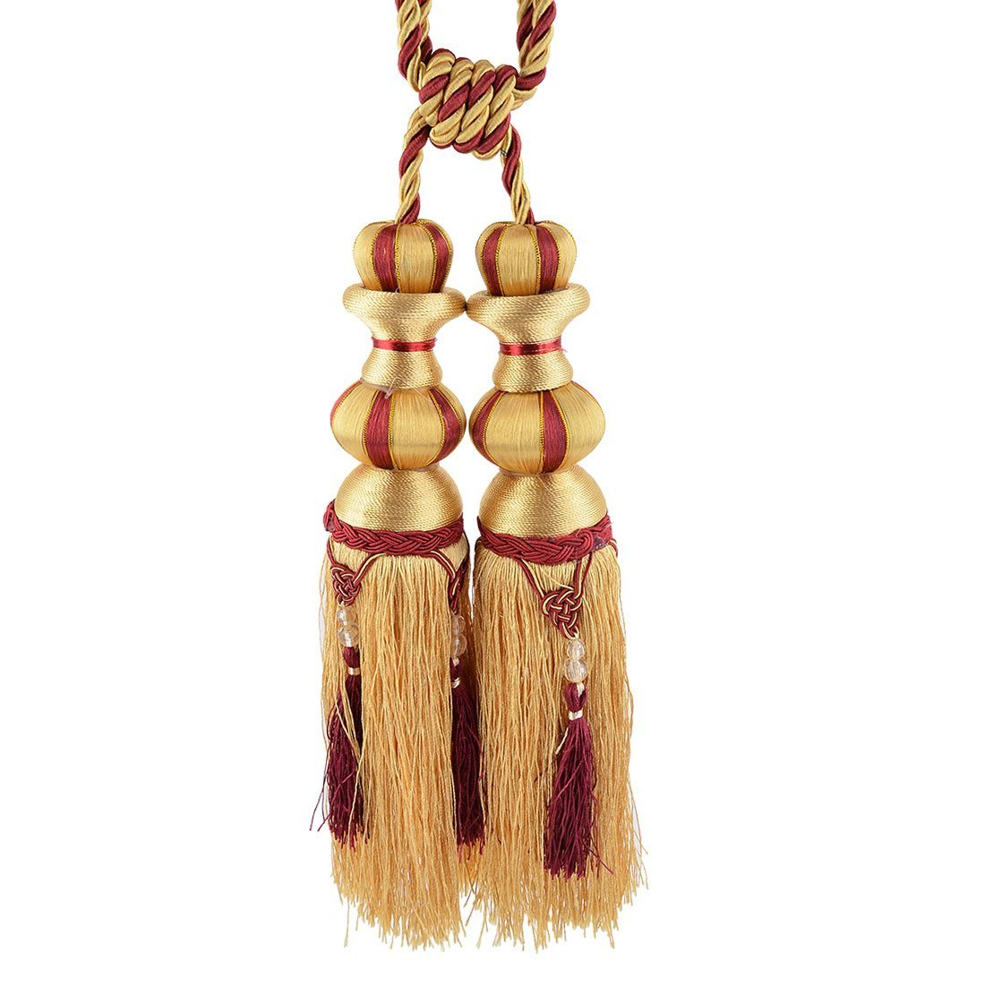 Amazon.com: eDealMax Sala de Nylon Tejido de Bolas decoración de la Ventana de cortinas Tiebacks cuerda Retenciones Cortina borla Par Amarillo: Home & ...