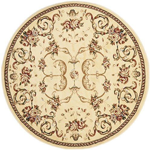 Safavieh Lyndhurst Collection LNH327A Traditional Floral Scrolling Vines Ivory Round Area Rug (5'3