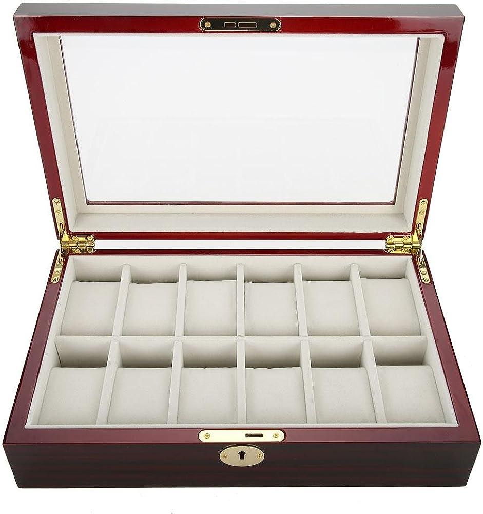 lahomie Relojes Caja con 12 Compartimentos, Relojes Organizador de Vitrina de Caja de Cuero Almacenamiento de Joyas con Cierre Metálico Caja a Prueba de Golpes Joyero