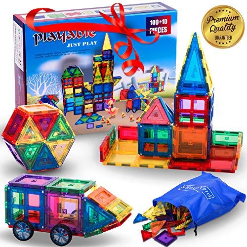 Mega Magnetic Building Blocks Set: Teach a Child Physics and Science with a 100 + 14 Pieces Thinking Game. 100-Piece Block Magnets Kit w/ Accessories. Colored Construction Magnet Tiles w/ Many Shapes from Playable