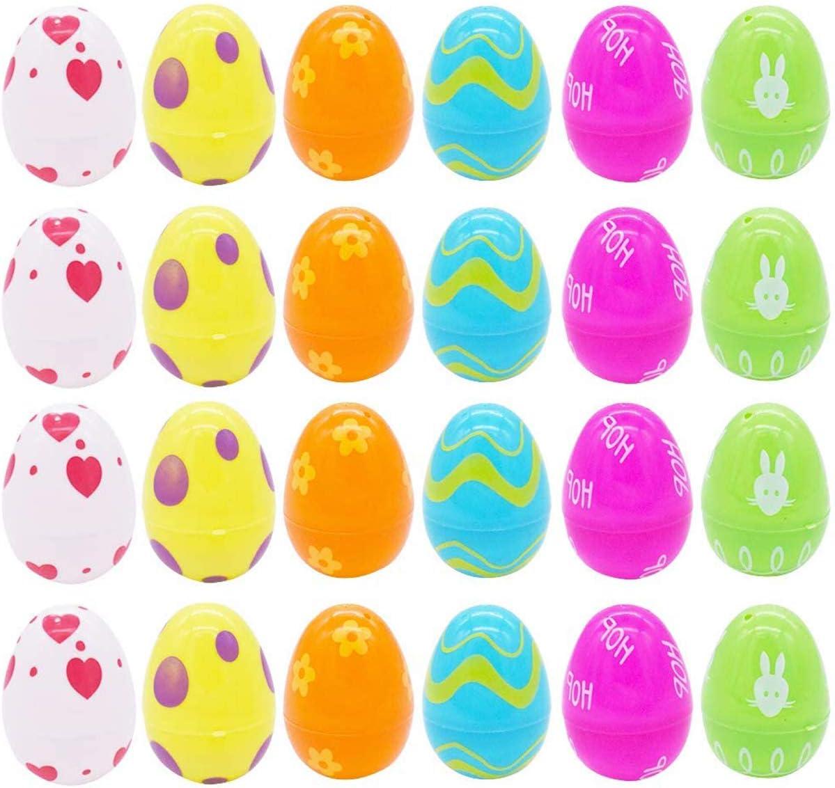 Huevos sorpresa de plástico, Huevos de Pascua Vacíos, Huevos de Pascua de Plástico Rellenable Sorpresa, para fiestas de Pascua, recipiente preferido para dulces la Búsqueda del Huevo de Pascua-24pack
