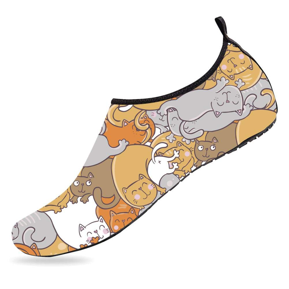 Breathable Barefoot Aqua Socks Cat Meow Mens Womens Water Shoes Quick-Dry Shoes for Running Walking Kayaking Yoga