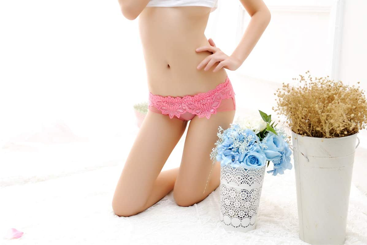 GNOW Lady Lace Ultra-Thin Transparent Gauze Panties//Low Waist Perspective Briefs//No Trace Lure Cotton Gear Breathable Panties//Nylon Panties