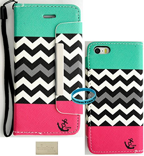 Wireless Fones TM Branded iPhone 5 5G 5S Premium Faux Leather Teal Coral Block Chevron Anchor Love Wallet Case