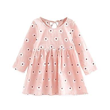 eddf1ad04 Amazon.com  BOBORA Baby Girl Kids Long Sleeve Casual Printed Dresses ...