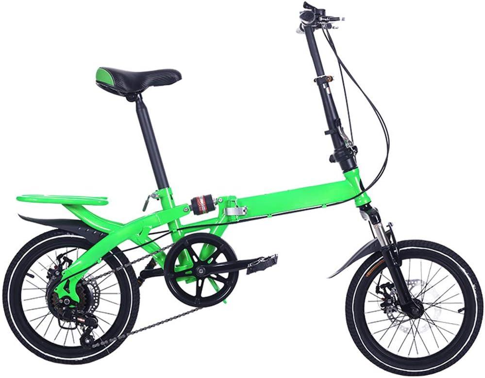 YBZX Bicicleta Plegable de 16 Pulgadas de Velocidad Variable para Hombres y Mujeres Bicicleta de Trabajo Ligera Mini Bicicleta portátil para Estudiantes para niños Adultos: Amazon.es: Hogar