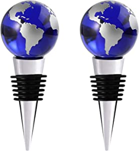 Wine Stoppers, Decorative Blue Crystal Globe Wine Bottle Stoppers with Luxury Box Beverage Wine Corks Keep Fresh Reusable Plug Set of 2 Globes