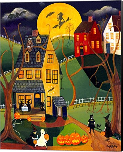 Halloween Trick or Treat by Cheryl Bartley Canvas Art Wall Picture, Museum Wrapped with Black Sides, 16 x 20 inches ()