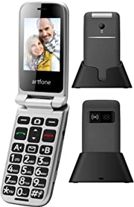 artfone Big Button Flip Phone for Elderly, 3G Unlocked Senior Flip Phone, Large Volume, Tmobile Phone with Radio, SOS, Torch and Camera Functions, Senior Phone with Acc Reciever Like Iphone's (Black)