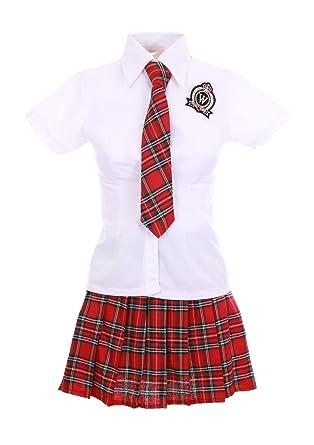 Traje Adolescente Japonesa Coreana Rojo tartán Color Blanco + ...