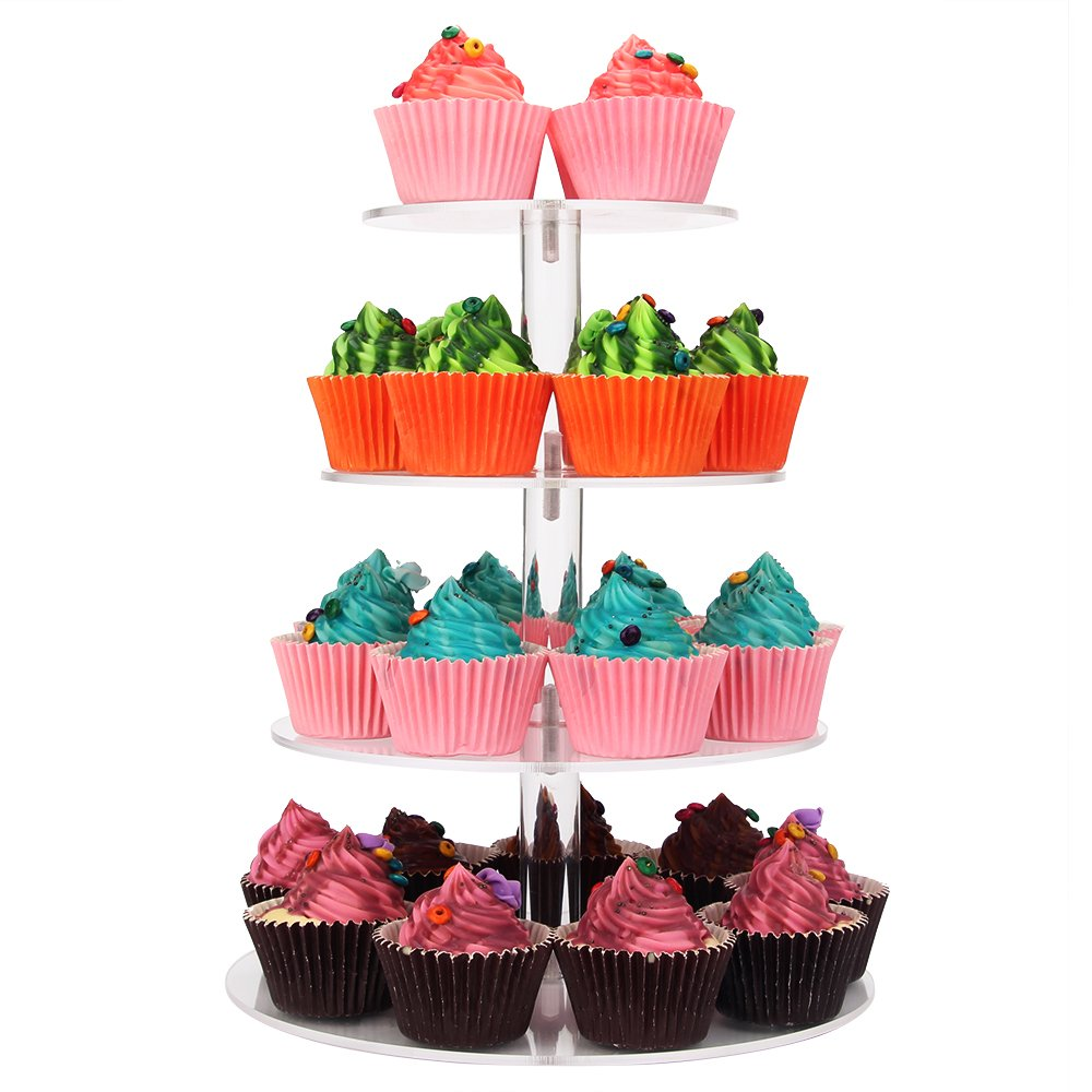 Weddingwish 4-Tier Round Acrylic Cupcake Stand