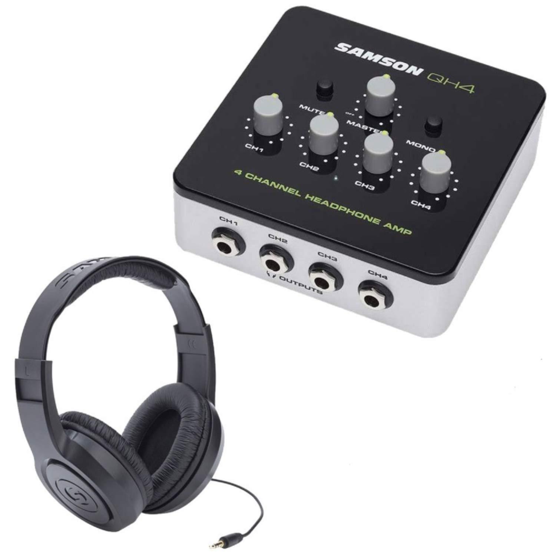 Samson QH4 Headphone Amplifier with 4 SR350 Studio Headphones