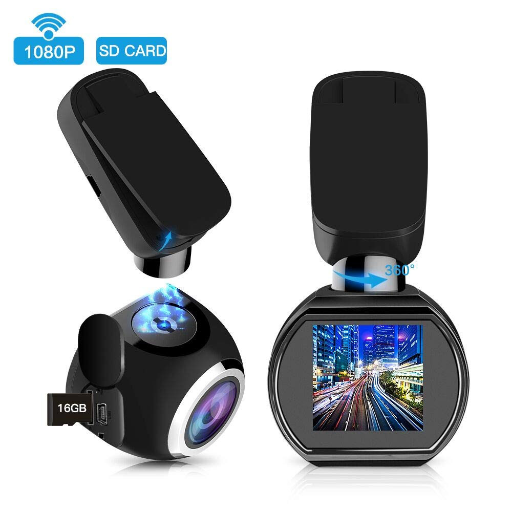 HQBKing WiFi Car Dash Cam in Car Dashboard Mini Recording Camera 1080P Full HD Magnetic Car DVR with G-Sensor Night Vision Loop Recording Motion Detection 360°Rotate Angle, 16G microSD Card Included