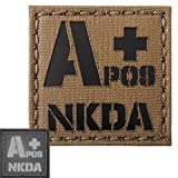ir blood type - Coyote Brown Tan Infrared IR APOS NKDA A+ Blood Type 2x2 Laser Reflective Tactical Morale Touch Fastener Patch