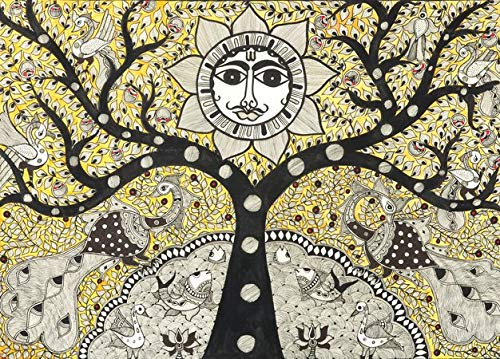 Tree of Life in Fish Pond with Sun and Peacocks - Madhubani Painting on Hand Made Paper - Folk Paint