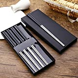 Nadalan Stainless Steel Alloy Chopsticks Non-slip Chopsticks 5 Pairs (Silver)
