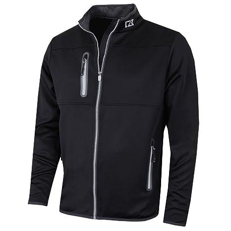 7794cb4b3cc Cutter & Buck 2017 Mens Water Resistant Montana Full Zip Performance Jacket  Black Medium