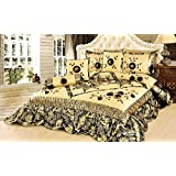 Tache Home Fashion BM895-F F 6 Piece Autumn Falls Comforter Set, Full, Gold, Silver, Black, Floral