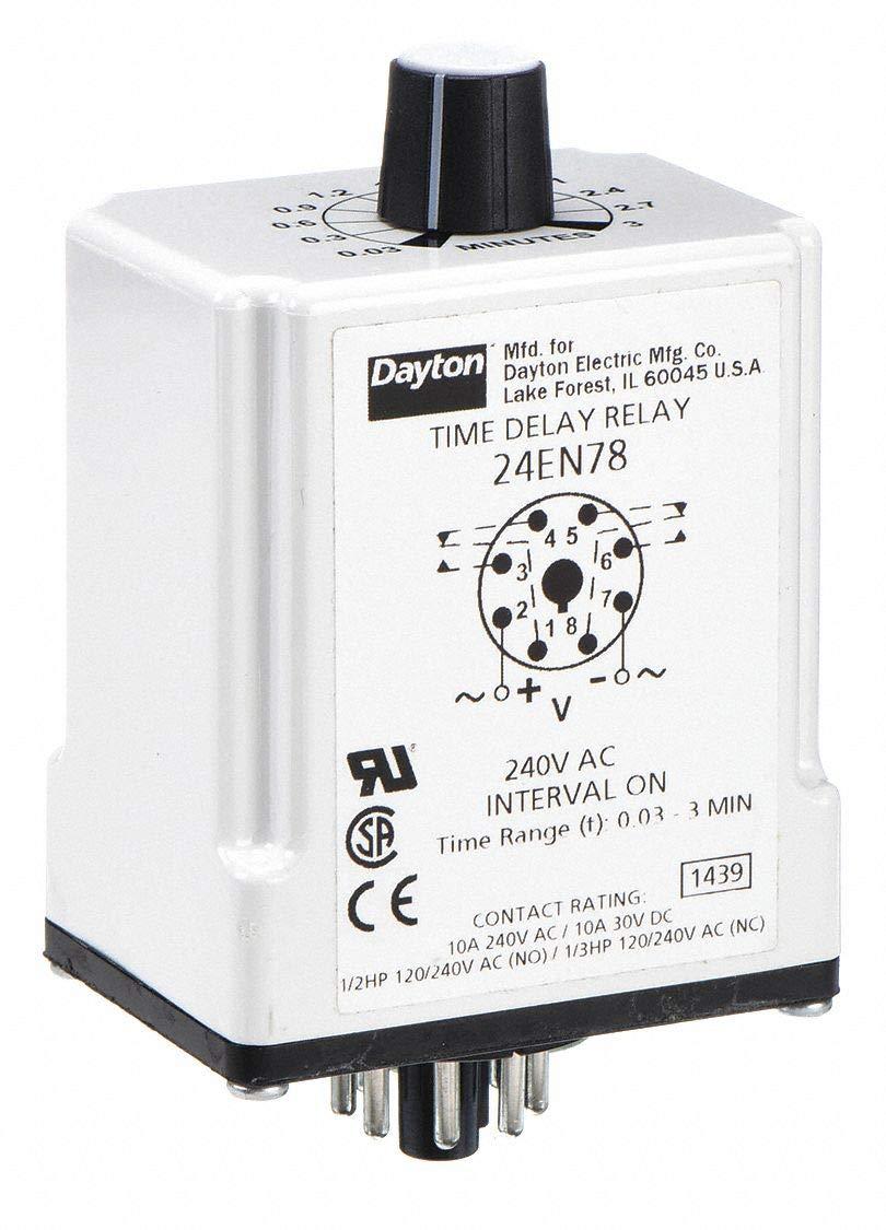 H7820 Time Delay Rlay 240VAC 10A DPDT 1.8 sec. by Dayton