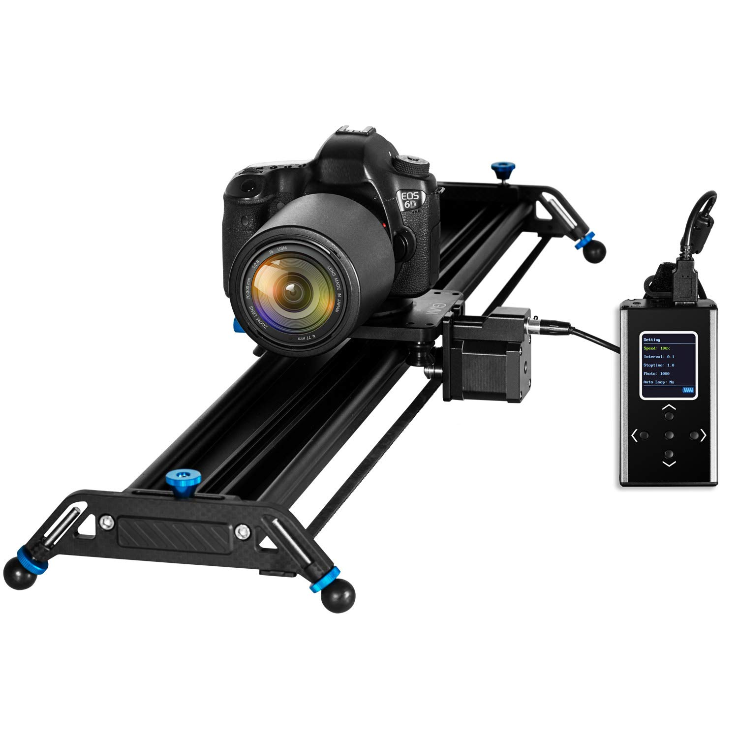 GVM Motorized Camera Slider, 31'' Aluminum Alloy Track Dolly Rail Camera Slider with Tracking Shooting, 120 Degree Panoramic Shooting and Time-Lapse Photography for Most DSLR Cameras, Load up to 22lbs by GVM Great Video Maker