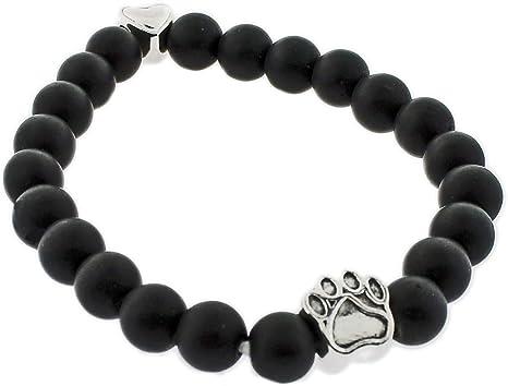 Vintage black beaded cat bracelet