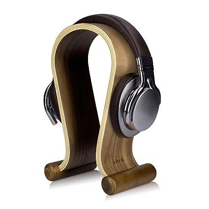 kalibri Soporte de Madera para Auriculares - Base Universal para Cascos Antideslizante - Sujeción Headset diseño