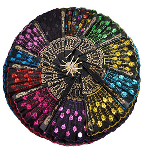 Winture 10 PCS Peacock Hand Fans, Spanish Folding Hand Fan, Flower Dancing Fans,Summer Handheld Folding Fans Party Favors for Girls Women (Embroidered Peacock Tail Pattern, 10 Assorted Colors) -