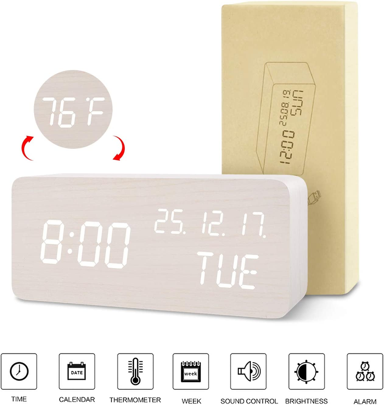 Electric Desk Digital Alarm Clock 6 Brightness Bedside Clock Study Decors,