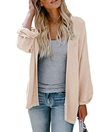 dd93c5491e Womens Cardigan Sweaters Oversized Long Sleeve Open Front Knit Tops Duster  Jacket at Amazon Women s Clothing store