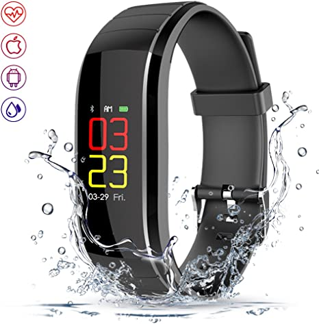 Fitness Tracker, Color Display Activity Tracker with Heart Rate, Blood Pressure & Sleep Monitor, IP67 Waterproof Bluetooth Smart Watch with Calorie ...