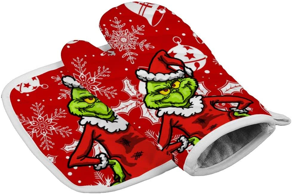 Tukiv Christmas Christmas-Grinch Oven Mitts and Pot Holders Sets Heat Resistant Kitchen Gloves Non Slip Hot Pads