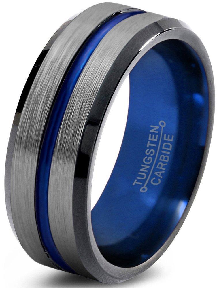 Tungsten Wedding Band Ring 8mm for Men Women Blue Red Green Purple Black Center Line Beveled Edge Brushed Polished Size 12