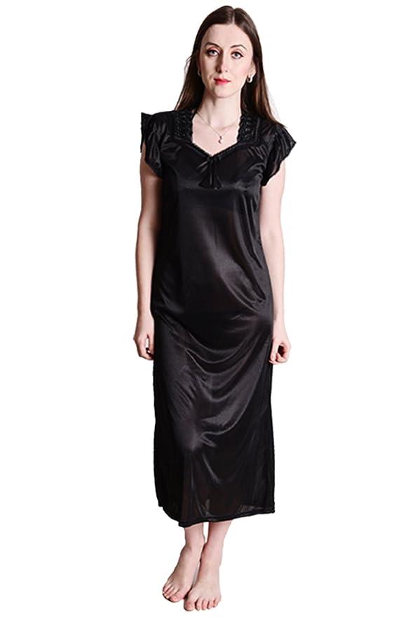 Senslife Women s Satin Solid Nightwear 6pc Set of Nighty Wrap Gown Top  Pajama Bra   Thong Set  Amazon.in  Clothing   Accessories fcaef2c5d