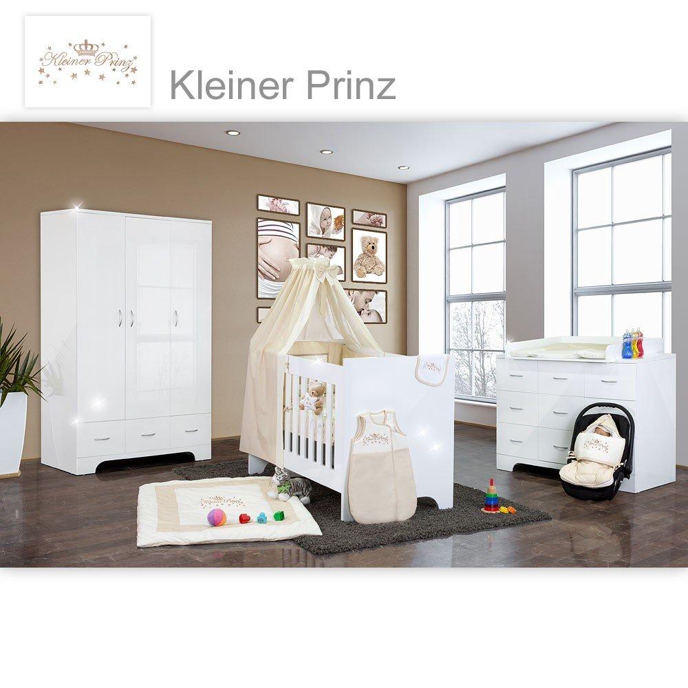 Hochglanz Babyzimmer Memi 21-tlg. mit Textilien Kleiner Prinz in Beige