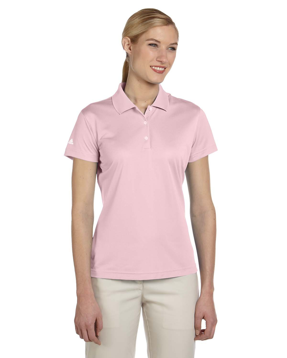 adidas Golf Ladies ClimaLite Pique Short-Sleeve Polo - Tea Rose A131 L by adidas