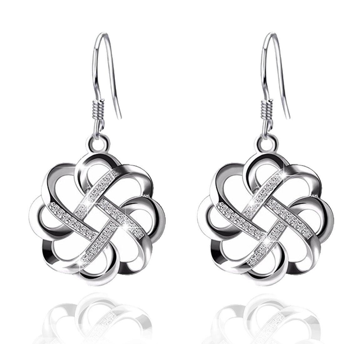 YAXING Celtic Knot 925 Sterling Silver Fish Hook Dangle Drop Women Earring (celtic knot earring)
