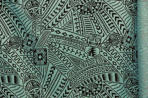 Hawaiian flocking tribal tiki face printed fabric 60'' inches sold by the yard. (Hawaiian Print Fabric)