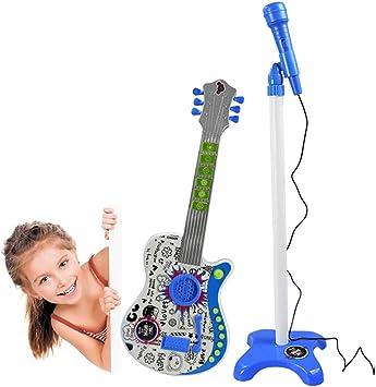 ZUJI Guitarra Electrica Niños Juguete Guitarra con Micrófono y Soporte Ajustable para Infantil: Amazon.es: Juguetes y juegos